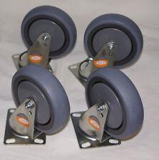 Fallshaw Swivel ISO Plate Castors Set of 4 Swivel Grey Rubber 5 inch/125mm