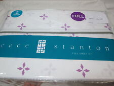 6 pcs Cece Stanton JESSIE Full Sheet Set - Lavender Purple Diamonds /White NEW