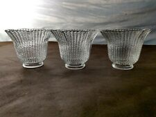 3 VINTAGE CEILING FAN VANITY LIGHT SHADES GLOBES CLEAR HOBNAIL DOT PATERN