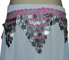 Silver Coin Classical Belly Dancing Hip Scarfs / Belts - 12 Pcs pack