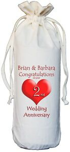 PERSONALISED 2nd WEDDING ANNIVERSARY BOTTLE BAG cotton