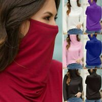 Women Summer T-shirt Casual Loose Hooded Long Sleeve Face mask Tee Tops Blouse