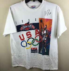 Vtg 1996 Olympic Basketball Dream Team Graphic T-shirt Single Stitch WNBA Gold L