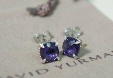 David Yurman 925 Silver14k Gold 9mm Purple Amethyst Diamond Chatelaine Earrings