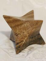 Stone Rock 3D Geometric Minimalist 6 Pointed Star Paperweight Jasper? Marble?