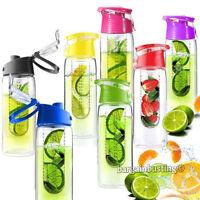 800ML Fruit Infusion Infusing Infuser Water Bottle Sports Health Maker Flip Lid
