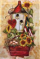 """Bird  House , Eggs & Sunflowers Welcome Garden Flag 12""""x18"""" Fall Decorative Flag"""