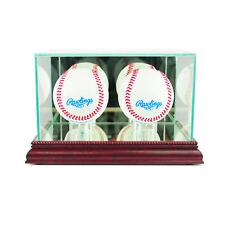 Glass Double Baseball Display Case Uv Protection Cherry Wood