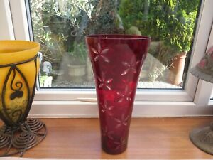 Large vintage Laura Ashley glass vase red with flower cut outs large quality