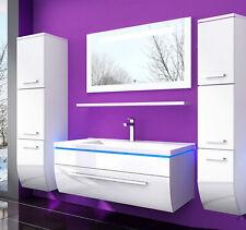 90 Badmöbel Set Weiss Komplett Hochglanz Badezimmermöbel 6 Teilige LED Bad  Weiß