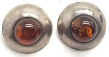 Vintage Oxidized Sterling Silver Modernist Round Baltic Amber Clip - On Earrings