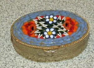 Vintage Italian Micro Mosaic Millefiori Pill Box Gold Tone Oval
