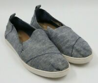 Toms Womens Ladies Blue Slip On Canvas Flats Shoes Size 8M