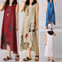 Boho Womens Ethnic Peasant Cotton Linen Long Maxi Dress Tops Gypsy Blouse Shirt