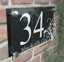 House Door Number Plaque Wall Gate Sign Name Plate Clear Acrylic Dec4-13WB