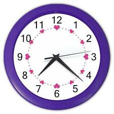 "Pink Hearts Roman Numerals 10"" Round Purple Frame Wall Clock"