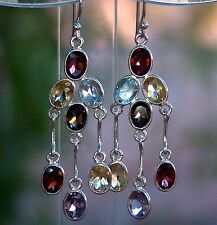 12.00cts. Genuine Multi-Gem 925 Solid Sterling Silver Dangle Earrings