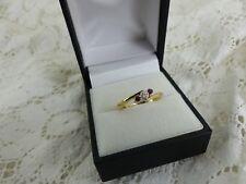 18ct 18carat Gold Ruby & Diamond Three Stone Ring Size K 1/2
