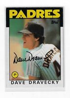 DAVE DRAVECKY 1986 TOPPS BASEBALL AUTOGRAPHED CARD 735 SAN DIEGO PADRES