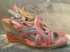 Spring Step L'Artiste Ansonia Red Gray Strappy Wedge Sandals Womens Size 37