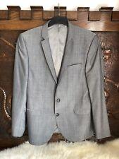 Mens NEXT Slim Fit Grey Suit Jacket Blazer Size 42R 107cm Purple Detail Wedding