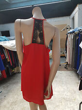 BNWT Lovely SOCIALITE Sheer Dress Tunic Red With Black Lace Open Back Size L
