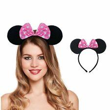 PINK MINNIE MOUSE EARS HEADBAND Fancy Dress Spotted Bow Ladies Kids Hen Night UK