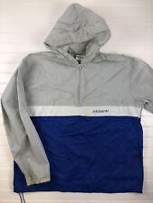 VTG Adidas Hooded Rain Windbreaker Jacket Men's Large Blue Gray Half-zip    A110