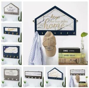 4/5 Hooks Storage Rack Key Wooden Hanger Home Decorative Wall  Keys Holder Gift