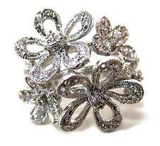 "1"" Floral Silver Cubic Zirconia Cz Encrusted 3 D Pop Flower Bouquet Ring Size 8"