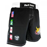 Red Nose Ripstop BJJ, MMA Grappling Shorts, Black