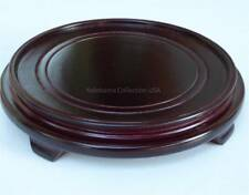 "Asian 7.5""D (Inner 6.5""D) Round Wooden Bowl Vase Wood Stand"