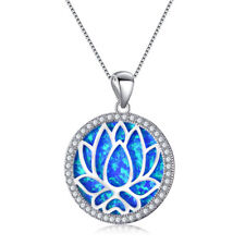 Elegant Lady Jewelry 925 Silver Blue Tree Fire Opal Pendant Chain Necklace