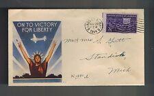 1944 Sandusky Ohio to Standish Michigan USA Victory Illustrated Patriotic Cover