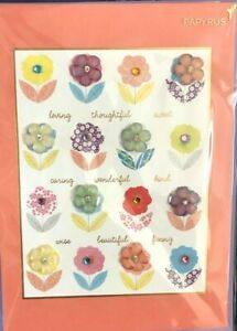 Beautiful Papyrus Mother's Day card - 16 Watercolor Gem Flowers- wise, caring...