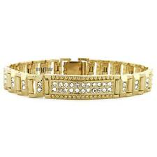 """ICED OUT 14K GOLD PLATED MICRO PAVE SIMULATED DIAMOND 8.5"""" BRACELET KB013G"""