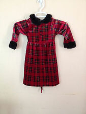 Perfectly Dressed Red Plaid Velour Velvet Dress 24 Months 24M Holiday Christmas