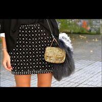 ZARA BLACK Velvet Pearl BEADED Embroidered Pearl Skirt Extra Small XS