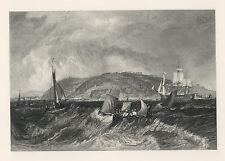 "J M W Turner engraving, early 19th Century ""Mount Edgcumbe"" *rare*"