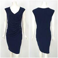 Womens Frank Lyman Dress Pencil Blue Sleeveless V-Neck Ruched Size UK12 / US10