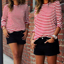 Womens Crew Neck White+Red Striped T-Shirts Long Sleeve Blouse Tee Tops S-XL