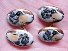 Unusual Vintage 18KG Double-Sided Hand-Painted Enamel Wolfhound Dog Cufflinks