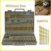 100PCS Titanium Drill Bit Set 1/1.5/2/2.5/3mm Twist Coated HSS Wood Hex Shank