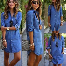 Women Blue Long Sleeve Denim Jeans Dress Button Pocket Casual Top Shirt Dresses
