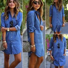 Damen Jeanskleid Hemdkleider Denim Langarm Bluse Tunika Longshirt Minikleid