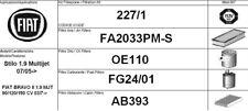 227/1 KIT 4 FILTRI TAGLIANDO FIAT BRAVO II 1.9 MJT KW 88 CV 120