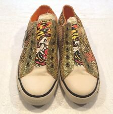 Ed Hardy Women's Sneaker with Gold Netting, Size 8