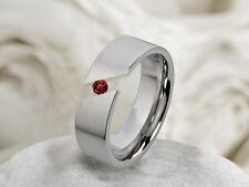Partnerring Damenring aus Edelstahl mit echtem Granat Ring Gravur M036