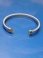 Silver Gold Finish  Topaz Orange  Crystal  Designer Inspired  Open Cuff Bracelet