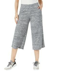 IDEOLOGY terry cropped wide leg athletic women's pants - Charcoal - XS, M